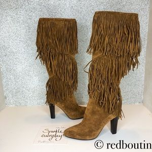 NWT saint Laurent Lily brown suede Fringe boots